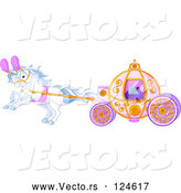 Vector of Cartoon White Horses Pulling a Fairy Tale Carriage by Pushkin