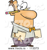 Vector of Cartoon White Male Accountant Holding Folders, with Pencils Behind His Ears by Toonaday