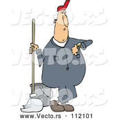 Vector of Cartoon White Male Custodian Janitor Checking His Watch and Standing with a Mop and Bucket by Djart