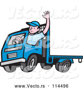 April 30th, 2018: Vector of Cartoon White Male Flatbed Truck Driver Waving by Patrimonio