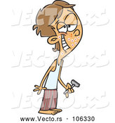 Vector of Cartoon White Teenage Guy Shaving for the First Time by Toonaday