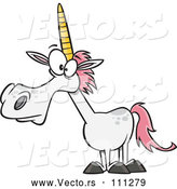 Vector of Cartoon White Unicorn with Pink Hair by Toonaday
