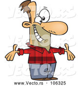 Vector of Cartoon White Welcoming Guy Wearing a Plaid Shirt by Toonaday