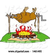 Vector of Cartoon Wild Boar Cooking on a Spit over a Fire by LaffToon