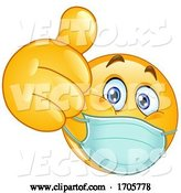 Vector of Cartoon Yellow Emoji Smiley Face Doctor Wearing a Surgical Mask and Giving a Thumb up by Yayayoyo