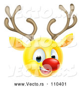 Vector of Cartoon Yellow Smiley Emoji Emoticon Christmas Reindeer Rudolph by AtStockIllustration