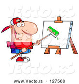 Vector of Cartoon Young Guy Using a Roller Brush to Paint a Canvas by Hit Toon