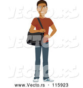 Vector of Casual Handsome Young Black Guy Carrying a Laptop Bag by Amanda Kate