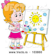 Vector of Caucasian Girl Painting a Sun on a Canvas by Alex Bannykh
