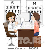 Vector of Caucasian Woman Having Her Eyes Checked by a Female Optometrist by Graphics RF