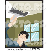 Vector of Caucasian Woman Using a Scraper Tool to Remove Popcorn Ceiling in Her House by Rosie Piter