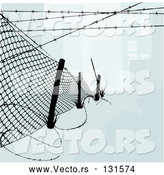 Vector of Chainlink Fence with Barbed Wire Along the Top and Bottom to Keep Intruders in or out by AtStockIllustration