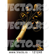 Vector of Champagne Bottle with Ribbons by Dero