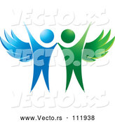 Vector of Cheering Green and Blue Angels by Lal Perera