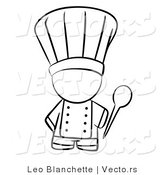 Vector of Chef Holding a Mixing Spoon - Coloring Page Outlined Art by Leo Blanchette