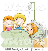 Vector of Children Visiting Sick Friend in a Hospital Bed by BNP Design Studio