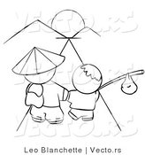 Vector of Chinese Father and Son Walking Towards the Sunset - Coloring Page Outlined Art by Leo Blanchette