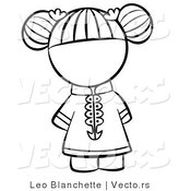 Vector of Chinese Girl with Hair Tied up - Coloring Page Outlined Art by Leo Blanchette