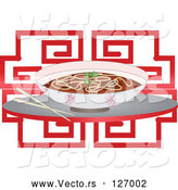 Vector of Chinese Noodle Soup Bowl and Chopsticks over Red by Melisende Vector
