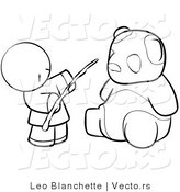Vector of Chinese Person Feeding a Panda - Coloring Page Outlined Art by Leo Blanchette