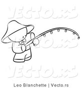 Vector of Chinese Person Fishing - Coloring Page Outlined Art by Leo Blanchette