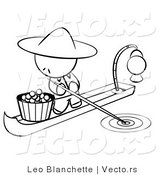 Vector of Chinese Person on a Food Boat - Coloring Page Outlined Art by Leo Blanchette