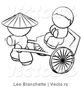Vector of Chinese Person Pulling a Customer in a Cart - Coloring Page Outlined Art by Leo Blanchette