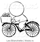 Vector of Chinese Person Riding a Bike with Eggs in the Basket - Coloring Page Outlined Art by Leo Blanchette