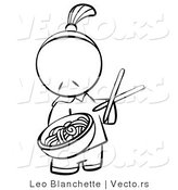 Vector of Chinese Person Serving Noodles - Coloring Page Outlined Art by Leo Blanchette