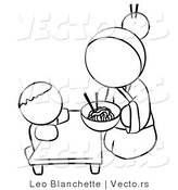 Vector of Chinese Woman Feeding Her Baby Noodles - Coloring Page Outlined Art by Leo Blanchette