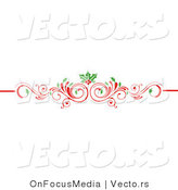 Vector of Christmas Scrolled Red Flourish Vine with Holly Leaves and Berries by OnFocusMedia