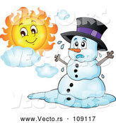 April 9th, 2018: Vector of Christmas Snowman Melting Under the Shining Sun by Visekart