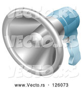 Vector of Chrome and Blue Hand Held Megaphone by AtStockIllustration