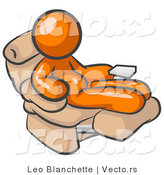 Vector of Chubby and Lazy Orange Guy with a Beer Belly, Sitting in a Recliner Chair with His Feet up by Leo Blanchette