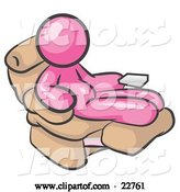 Vector of Chubby and Lazy Pink Guy with a Beer Belly, Sitting in a Recliner Chair with His Feet up by Leo Blanchette