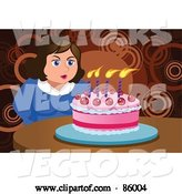 Vector of Chubby Lady Making a Wish and Blowing out Her Birthday Cake Candles by Mayawizard101