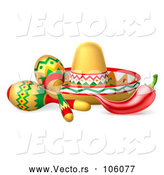 Vector of Cinco De Mayo Theme with a Chili Pepper, Maracas and Mexican Sombrero by AtStockIllustration