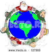Vector of Circle of Diverse Elves with Santa and Mrs Claus, Holding Hands and Looking up by Djart