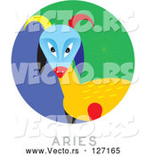 Vector of Circular Aries Astrology Scene by Venki Art