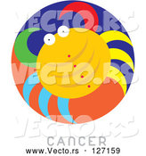 Vector of Circular Cancer Astrology Scene by Venki Art