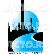 Vector of City of Skyscrapers and a Blue Road or River Against a Moon by Lal Perera