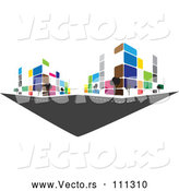 Vector of City with Colorful Urban Buildings by ColorMagic