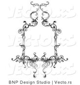 Vector of Classic Black and White Floral Border Design by BNP Design Studio