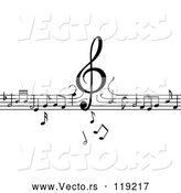 Vector of Clef Dropping down on Lines of Music Notes by Vector Tradition SM