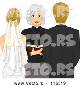 Vector of Clergy Woman Marrying a Blond Caucasian Couple by BNP Design Studio