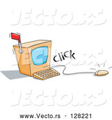 Vector of Clicking Computer Mouse with a Screen and Mail Flag by Jtoons
