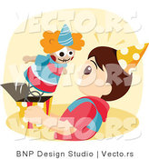 Vector of Clown Startling a Boy While It Pops out of a Jack-In-The-Box Toy by BNP Design Studio