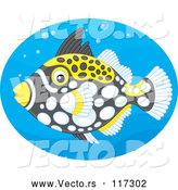Vector of Clown Triggerfish in a Blue Oval by Alex Bannykh