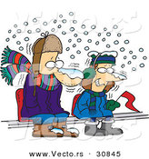 Vector of Cold Diehard Cartoon Fans Sitting in Snowfall While Watching Sporting Event by Toonaday