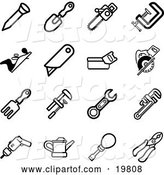 Vector of Collection of Black and White Nail, Shovel, Saw, Clasp, Razor, Rake, Wrench, Drill, Oil Can, Screwdriver and Pliers Tools Icons on a White Background by AtStockIllustration